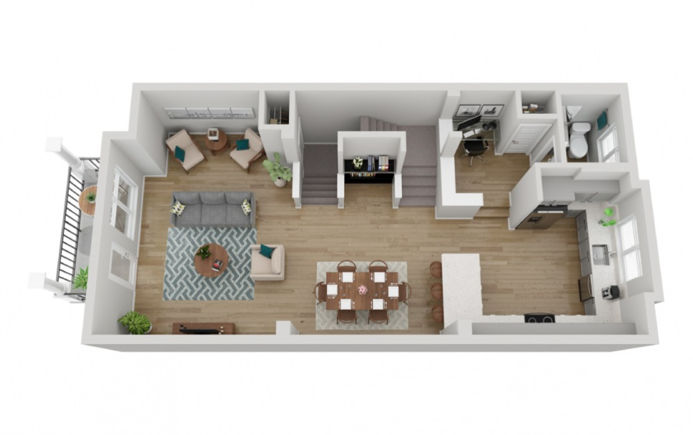 The Olympus - 2 bedroom floorplan layout with 2.5 baths and 1617 square feet. (Floor 2)