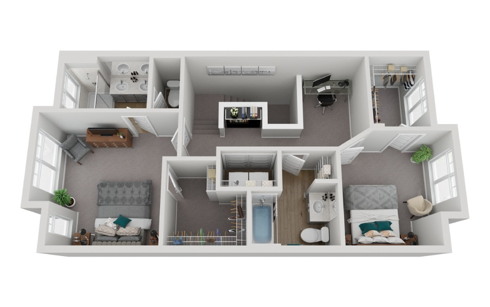 The Olympus - 2 bedroom floorplan layout with 2.5 baths and 1617 square feet. (Floor 3)