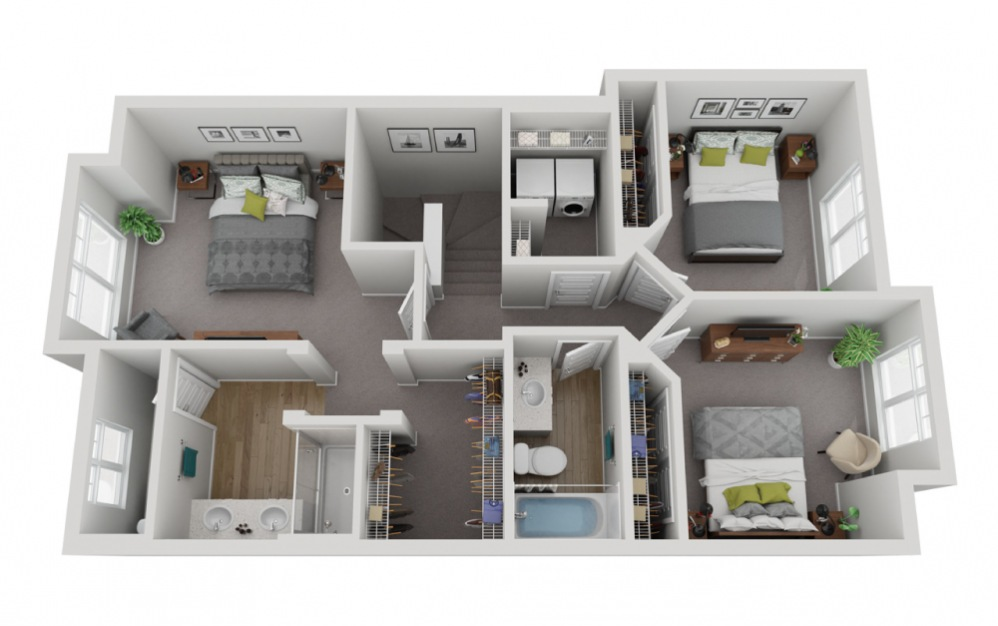 The Sentinel - 4 bedroom floorplan layout with 3.5 baths and 2161 square feet. (Floor 3)