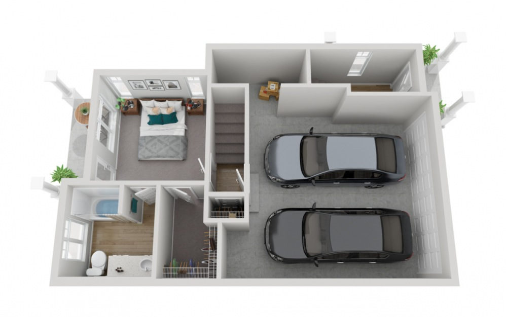 The Glacier - 4 bedroom floorplan layout with 3.5 baths and 2133 to 2187 square feet. (Floor 1)