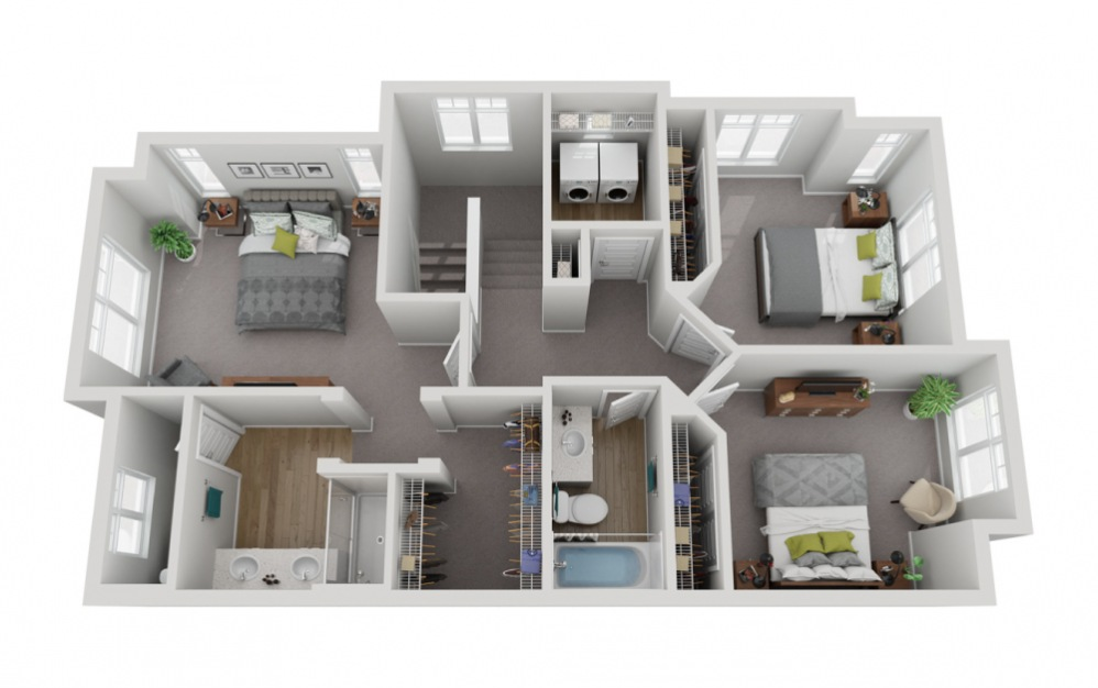 The Glacier - 4 bedroom floorplan layout with 3.5 baths and 2133 to 2187 square feet. (Floor 3)