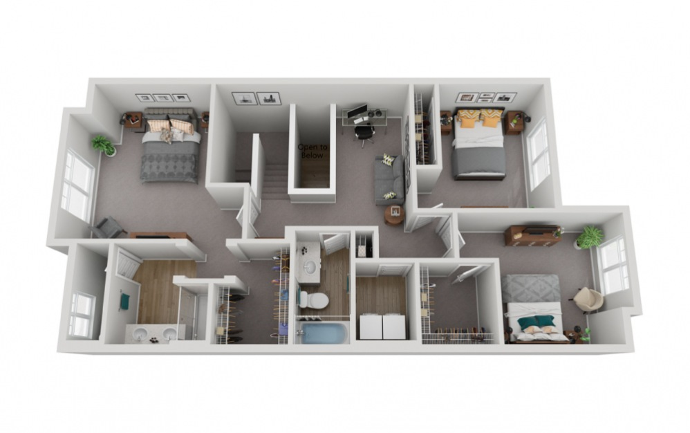 The Rainier - 4 bedroom floorplan layout with 3.5 baths and 2133 to 2330 square feet. (Floor 3)