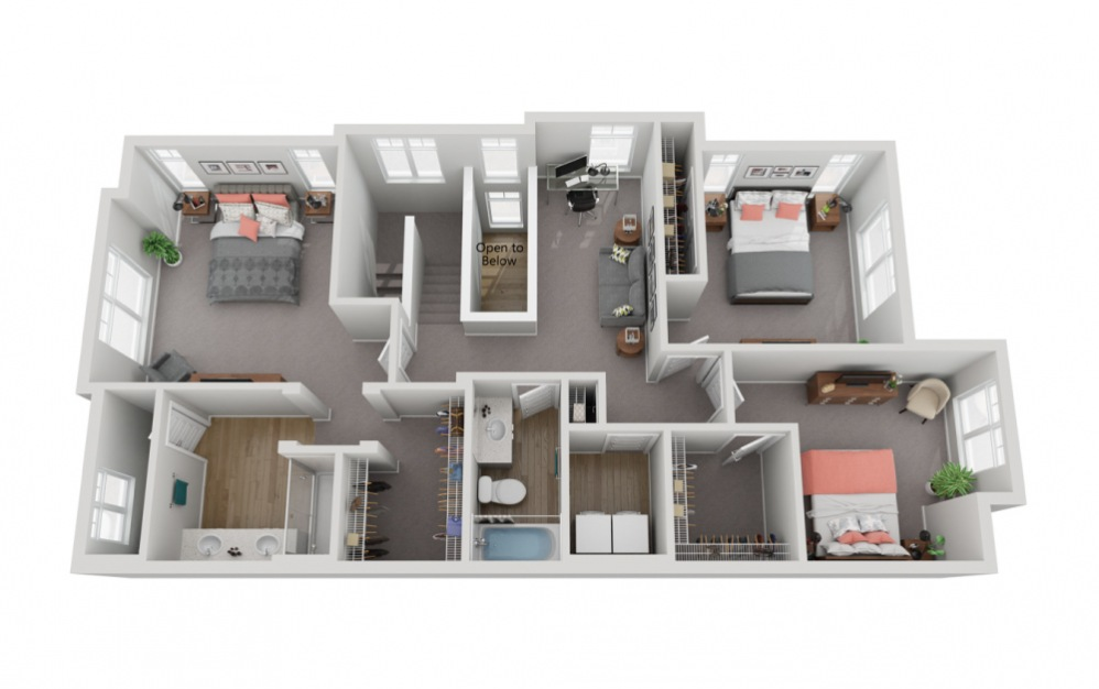 The Anderson - 4 bedroom floorplan layout with 3.5 baths and 2239 to 2244 square feet. (Floor 3)