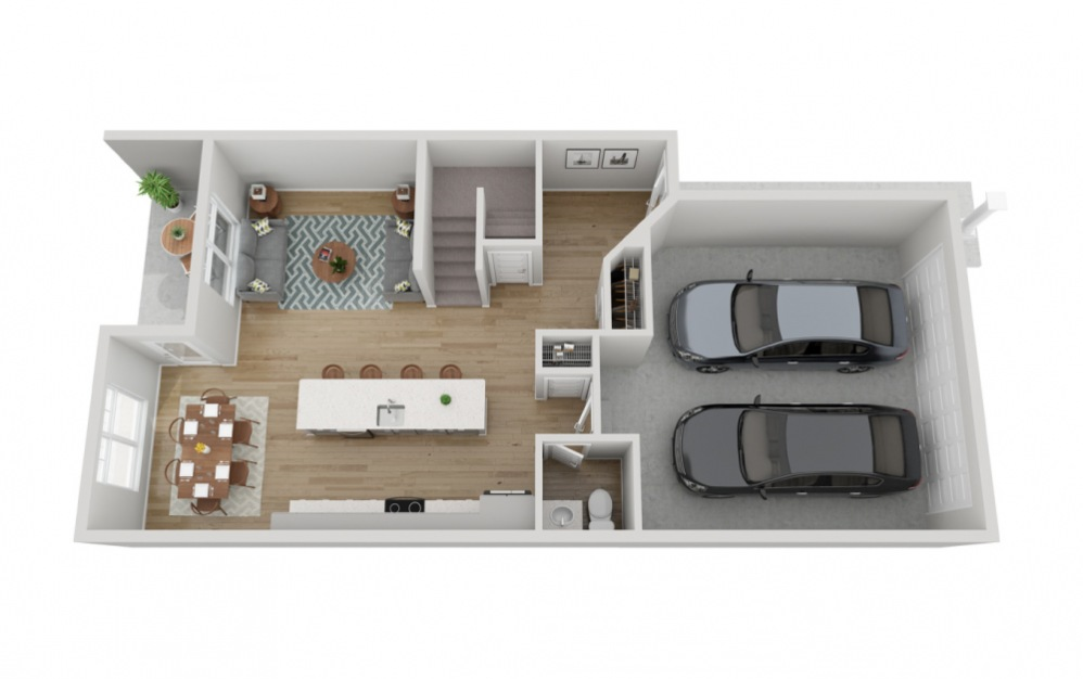 The Slate - 3 bedroom floorplan layout with 2.5 baths and 1733 to 1807 square feet. (Floor 1)
