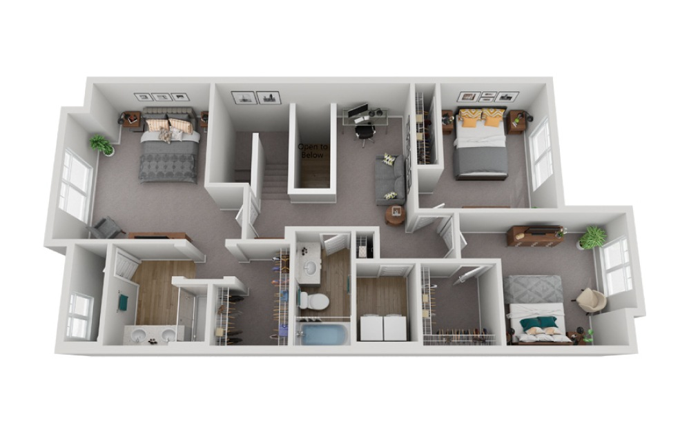 The Slate - 3 bedroom floorplan layout with 2.5 baths and 1733 to 1807 square feet. (Floor 2)