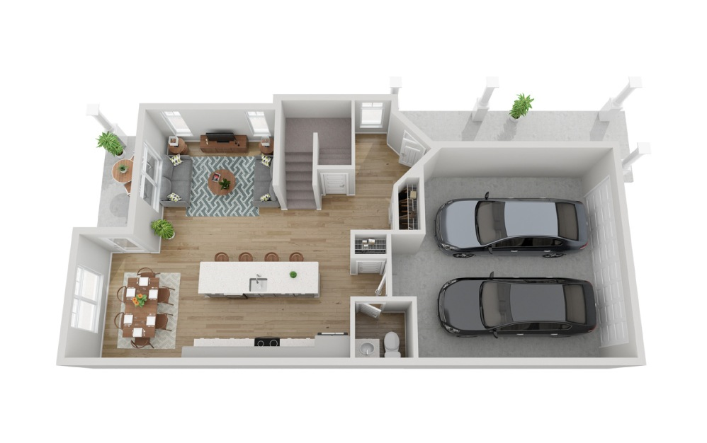 The Lago - 3 bedroom floorplan layout with 2.5 baths and 1733 to 1737 square feet. (Floor 1)