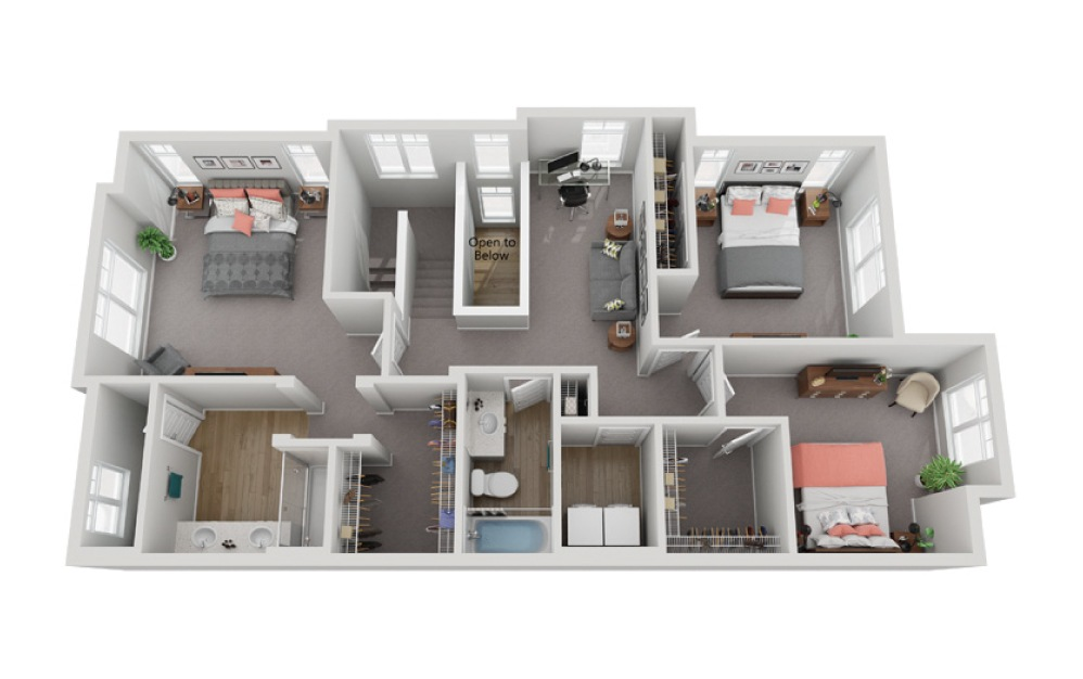 The Lago - 3 bedroom floorplan layout with 2.5 baths and 1733 to 1737 square feet. (Floor 2)